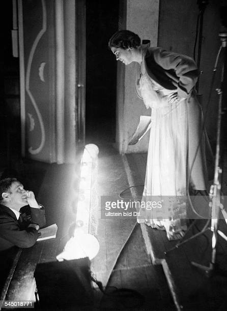 Armgart Irmgard Singer Germany with Paul Kuhn during a rehearsal before a radio broadcast Photographer Curt Ullmann Published by 'Hier Berlin'...