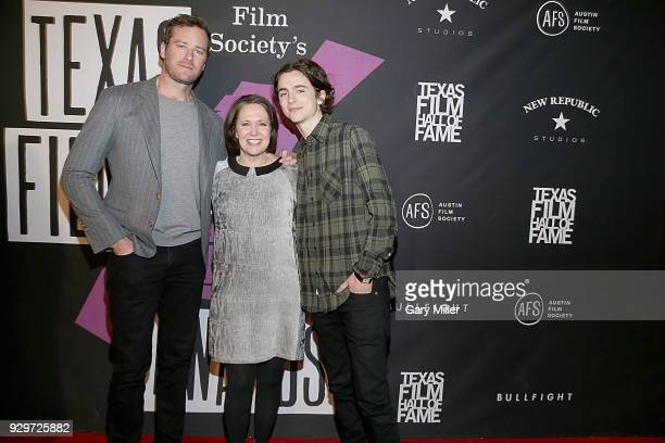Armie Hammer AFS CEO Rebecca Campbell and Timothee Chalamet attend the 2018 Texas Film Awards at AFS Cinema on March 8 2018 in Austin Texas