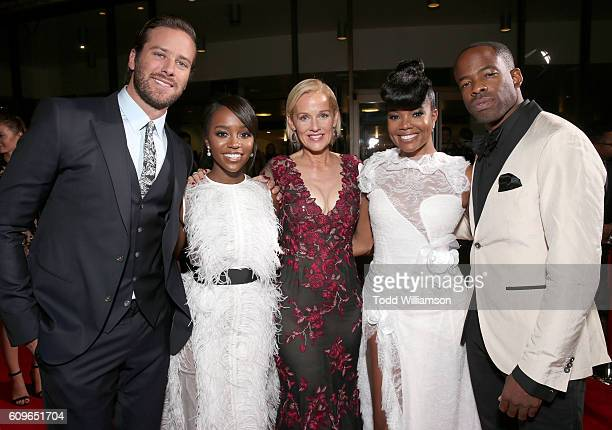 Armie Hammer Aja Naomi King Penelope Ann Miller Gabrielle Union and Chike Okonkwo attend the Los Angeles Premiere of Fox Searchlight's 'The Birth of...