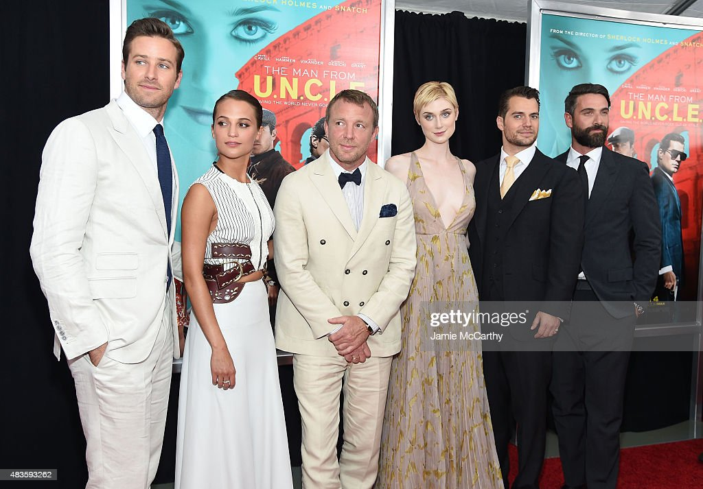 Armie Hammer, Alicia Vikander, Guy Ritchie, Elizabeth Debicki, Henry Cavill and Luca Calvani attend the New York Premiere of 'The Man From U.N.C.L.E.' at Ziegfeld Theater on August 10, 2015 in New York City.