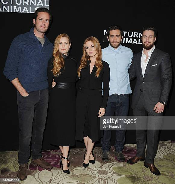 Armie Hammer Amy Adams Isla Fisher Jake Gyllenhaal and Aaron TaylorJohnson attend the Photo Call For Focus Features' 'Nocturnal Animals' at Four...