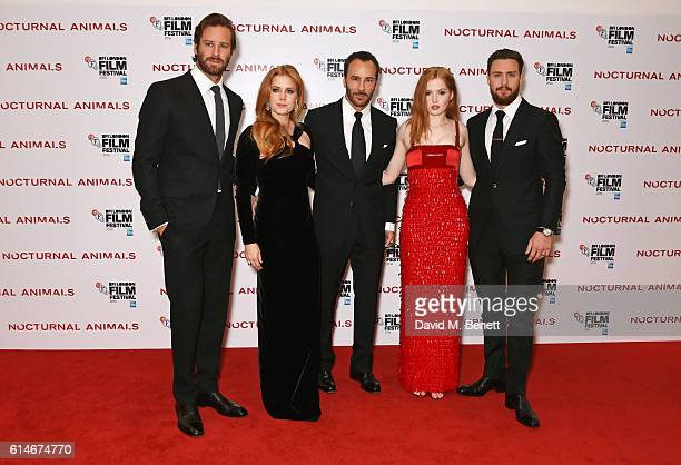 Armie Hammer, Amy Adams, Tom Ford, Ellie Bamber and Aaron Taylor-Johnson attend the 'Nocturnal Animals' Headline Gala screening during the 60th BFI...