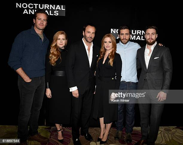 Armie Hammer Amy Adams Tom Ford Isla Fisher Jake Gyllenhaal and Aaron TaylorJohnson attends the photo call for Focus Features' 'Nocturnal Animals' at...
