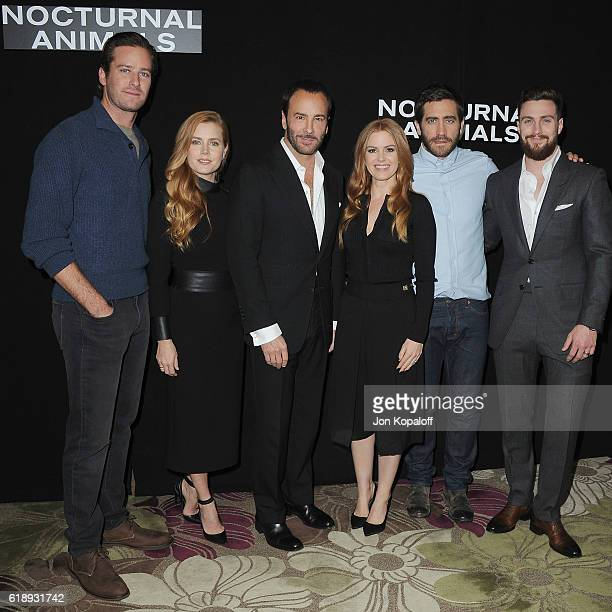 Armie Hammer Amy Adams Tom Ford Isla Fisher Jake Gyllenhaal and Aaron TaylorJohnson attend the Photo Call For Focus Features' 'Nocturnal Animals' at...