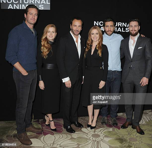 Armie Hammer Amy Adams Tom Ford Isla Fisher Jake Gyllenhaal and Aaron TaylorJohnson attend the Photo Call For Focus Features' Nocturnal Animals at...