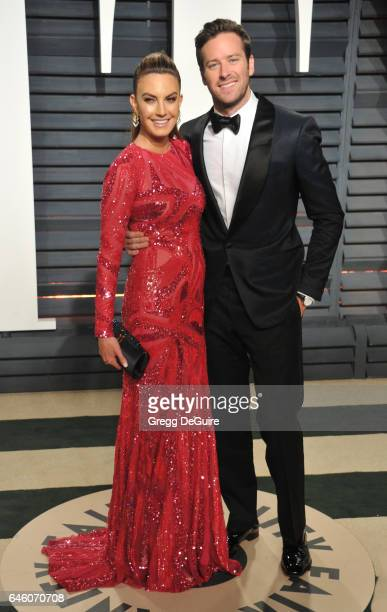 Armie Hammer and Elizabeth Chambers arrive at the 2017 Vanity Fair Oscar Party Hosted By Graydon Carter at Wallis Annenberg Center for the Performing...