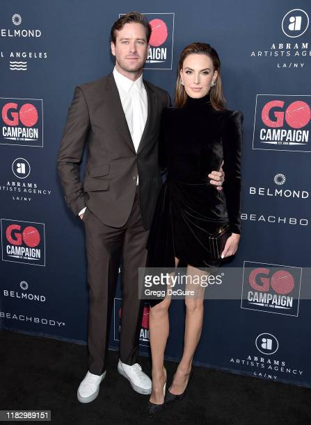 Armie Hammer and Elizabeth Chambers arrive at the Go Campaign's 13th Annual Go Gala at NeueHouse Hollywood on November 16, 2019 in Los Angeles,...