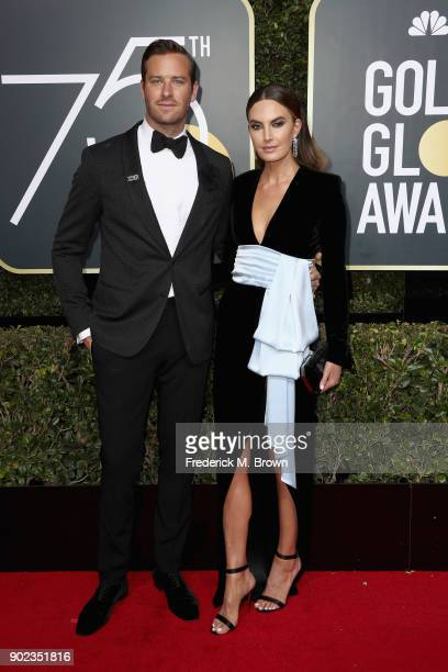 Armie Hammer and Elizabeth Chambers attend The 75th Annual Golden Globe Awards at The Beverly Hilton Hotel on January 7 2018 in Beverly Hills...
