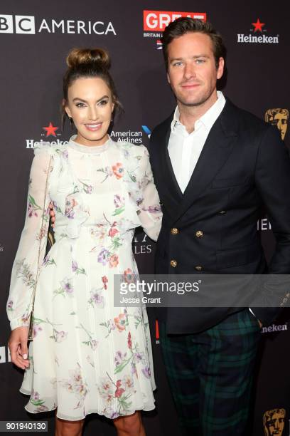 Armie Hammer and Elizabeth Chambers attend The BAFTA Los Angeles Tea Party at Four Seasons Hotel Los Angeles at Beverly Hills on January 6 2018 in...