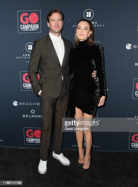 Armie Hammer and Elizabeth Chambers attend the Go Campaign's 13th Annual Go Gala at NeueHouse Hollywood on November 16, 2019 in Los Angeles,...