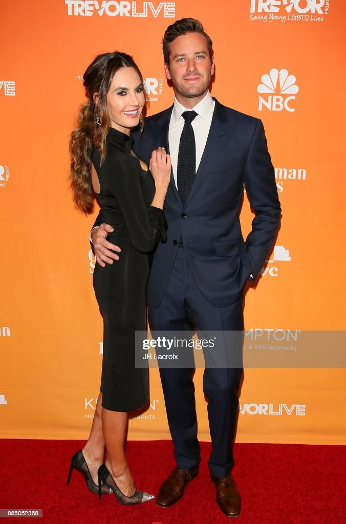 Armie Hammer and Elizabeth Chambers attend The Trevor Project's 2017 TrevorLIVE LA on December 3, 2017 in Beverly Hills, California.
