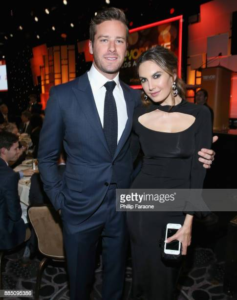 Armie Hammer and Elizabeth Chambers attend The Trevor Project's 2017 TrevorLIVE LA Gala at The Beverly Hilton Hotel on December 3 2017 in Beverly...