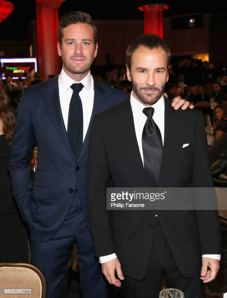 Armie Hammer and honoree Tom Ford attend The Trevor Project's 2017 TrevorLIVE LA Gala at The Beverly Hilton Hotel on December 3 2017 in Beverly Hills...