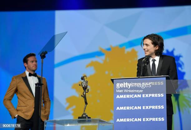 Armie Hammer and Rising Star Award winner Timothée Chalamet onstage at the 29th Annual Palm Springs International Film Festival Awards Gala at Palm...