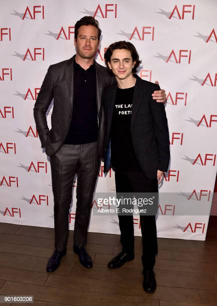 Armie Hammer and Timothee Chalamet attend the 18th Annual AFI Awards at Four Seasons Hotel Los Angeles at Beverly Hills on January 5 2018 in Los...