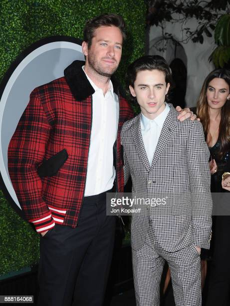 Armie Hammer and Timothee Chalamet attend the 2017 GQ Men Of The Year Party at Chateau Marmont on December 7 2017 in Los Angeles California