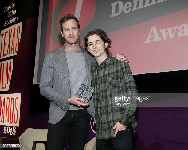 Armie Hammer and Timothee Chalamet attend the 2018 Texas Film Awards at AFS Cinema on March 8 2018 in Austin Texas