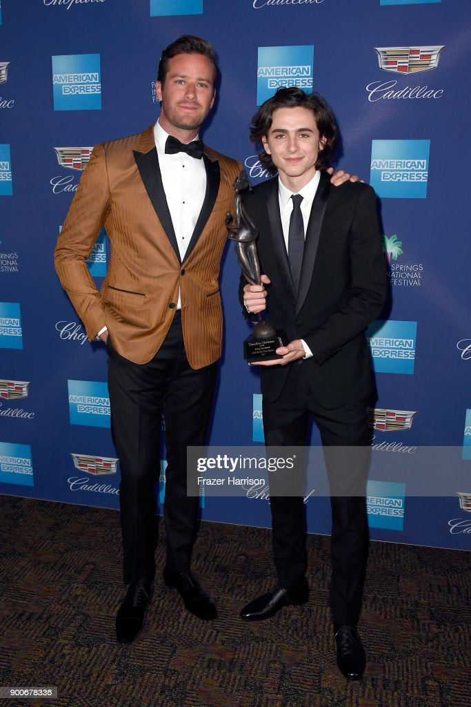 Armie Hammer (L) and Timothee Chalamet attend the 29th Annual Palm Springs International Film Festival Awards Gala at Palm Springs Convention Center on January 2, 2018 in Palm Springs, California.