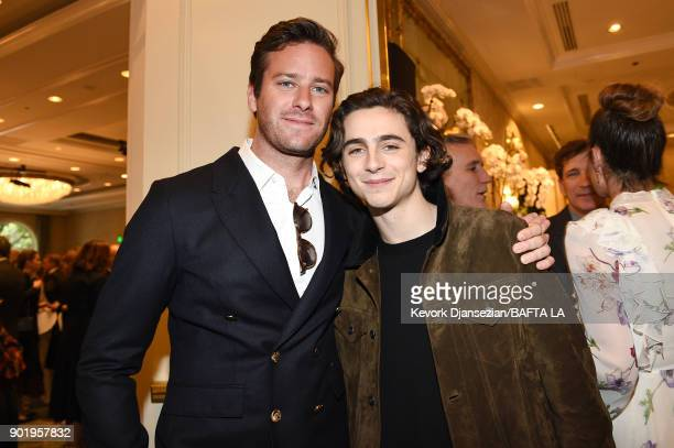 Armie Hammer and Timothee Chalamet attend The BAFTA Los Angeles Tea Party at Four Seasons Hotel Los Angeles at Beverly Hills on January 6 2018 in Los...
