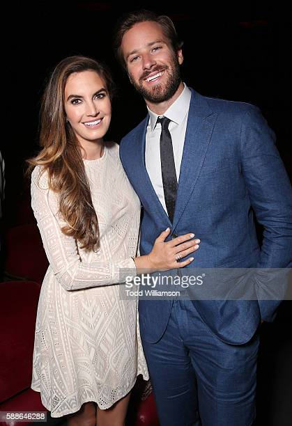 Armie Hammer and wife Elizabeth Chambers attend Sundance Institute NIGHT BEFORE NEXT at The Theatre At The Ace Hotel on August 11 2016 in Los Angeles...