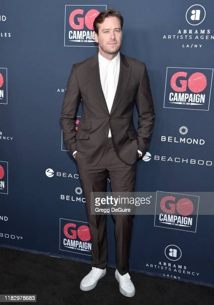 Armie Hammer arrives at the Go Campaign's 13th Annual Go Gala at NeueHouse Hollywood on November 16 2019 in Los Angeles California