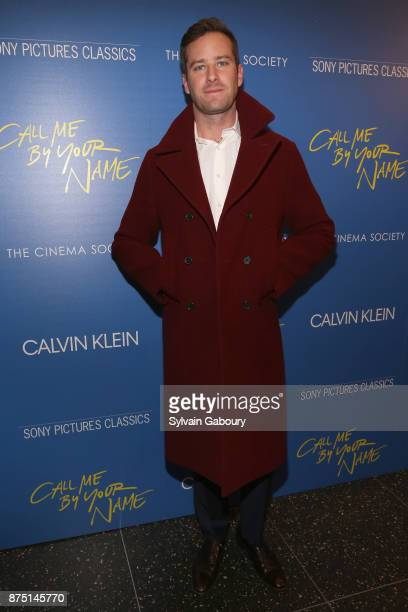Armie Hammer attends Calvin Klein and The Cinema Society host a screening of Sony Pictures Classics' 'Call Me By Your Name' on November 16 2017 in...