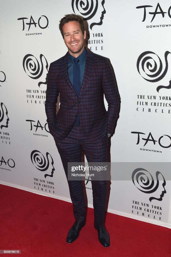 Armie Hammer attends the 2017 New York Film Critics Awards at TAO Downtown on January 3, 2018 in New York City.