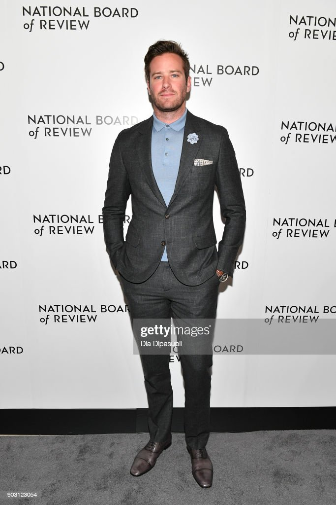 Armie Hammer attends the 2018 National Board of Review Awards Gala at Cipriani 42nd Street on January 9, 2018 in New York City.