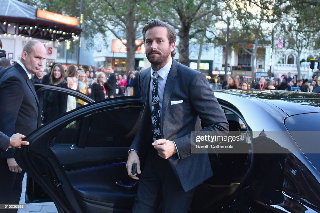 Armie Hammer attends the 'Free Fire' Closing Night Gala screening during the 60th BFI London Film Festival at Odeon Leicester Square on October 16, 2016 in London, England.