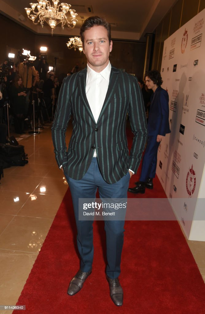 Armie Hammer attends the London Film Critics' Circle Awards 2018 at The May Fair Hotel on January 28, 2018 in London, England.