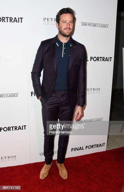 """Armie Hammer attends the premiere of Sony Pictures Classics' """"Final Portrait"""" at Pacific Design Center on March 19, 2018 in West Hollywood,..."""