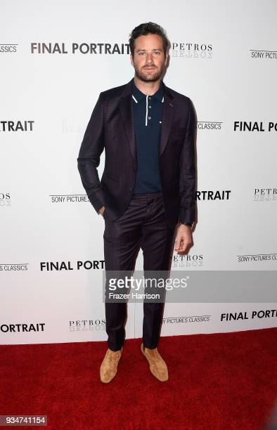 Armie Hammer attends the premiere of Sony Pictures Classics' 'Final Portrait' at Pacific Design Center on March 19 2018 in West Hollywood California