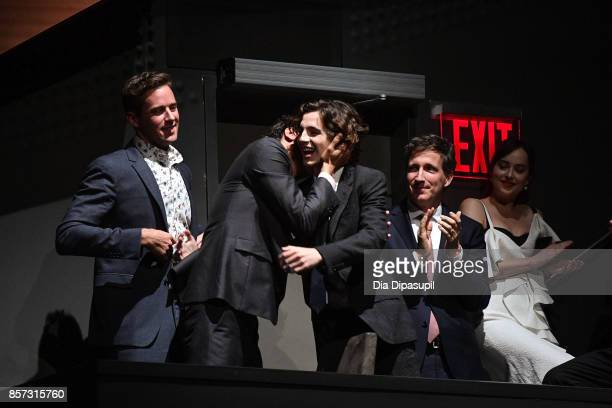 Armie Hammer director Luca Guadagnino Timothee Chalamet producer Peter Spears and Dakota Johnson attend a screening of 'Call Me by Your Name' during...