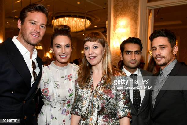 Armie Hammer Elizabeth Chambers Emily V Gordon Kumail Nanjiani and James Franco attend The BAFTA Los Angeles Tea Party at Four Seasons Hotel Los...