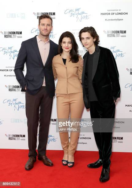 Armie Hammer Esther Garrel and Timothee Chalamet attend the Mayor Of London Gala UK Premiere of 'Call Me By Your Name' during the 61st BFI London...