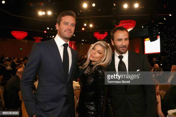Armie Hammer Fergie and Tom Ford attend The Trevor Project's 2017 TrevorLIVE LA Gala at The Beverly Hilton Hotel on December 3 2017 in Beverly Hills...
