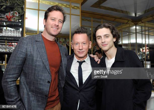 Armie Hammer GQ Magazine EditorInChief Jim Nelson and Timothee Chalamet attend GQ and Oliver Peoples Celebrate Timothee Chalamet March Cover Dinner...