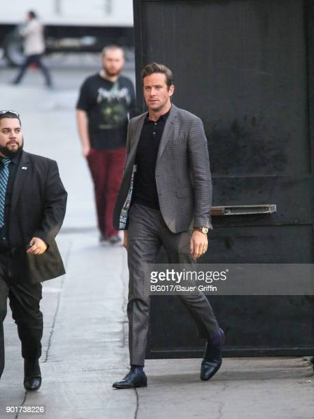 Armie Hammer is seen arriving at 'Jimmy Kimmel Live' on January 05 2018 in Los Angeles California
