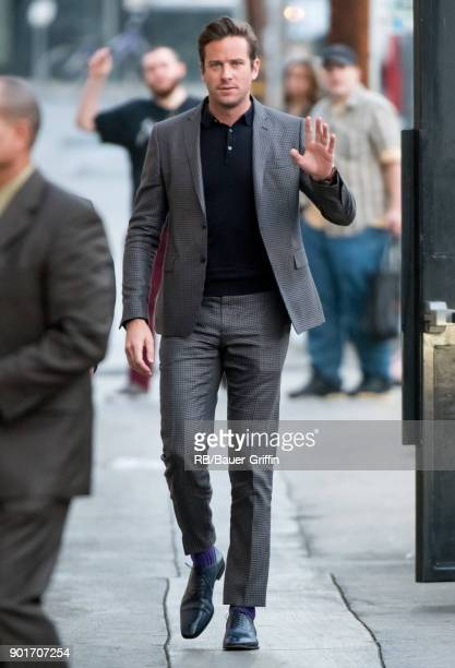 Armie Hammer is seen at 'Jimmy Kimmel Live' on January 05 2018 in Los Angeles California