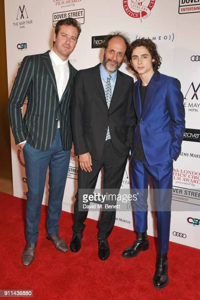 Armie Hammer Luca Guadagnino and Timothee Chalamet attend the London Film Critics' Circle Awards 2018 at The May Fair Hotel on January 28 2018 in...