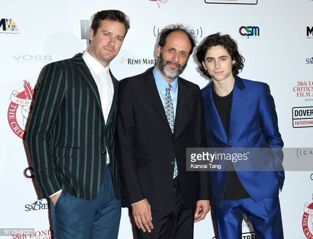 Armie Hammer Luca Guadagnino and Timothee Chalamet attend the London Film Critics Circle Awards 2018 at The May Fair Hotel on January 28 2018 in...