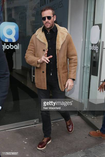 Armie Hammer seen at Global Radio Studios for Heart Breakfast on February 13 2019 in London England