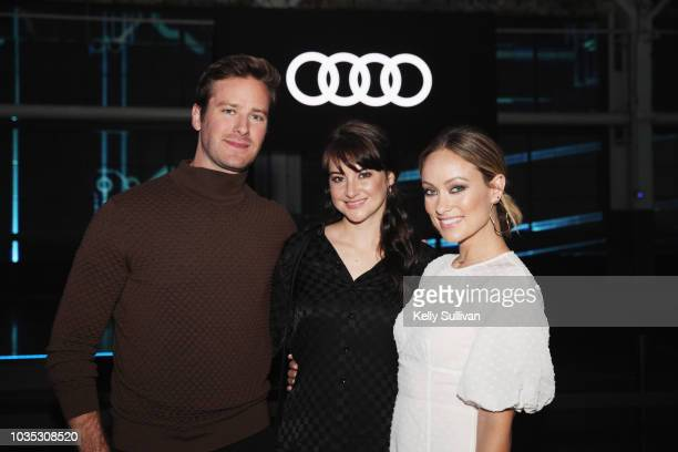 Armie Hammer Shailene Woodley and Olivia Wilde attend the world premiere of the Audi etron electric SUV held at the Craneway Pavilion on September 17...