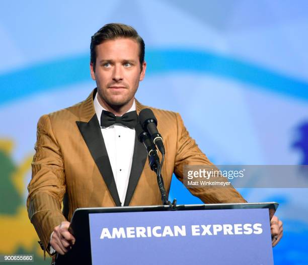 Armie Hammer speaks onstage at the 29th Annual Palm Springs International Film Festival Awards Gala at Palm Springs Convention Center on January 2,...