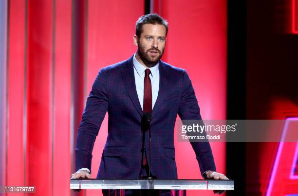 Armie Hammer speaks onstage during the 2019 Film Independent Spirit Awards on February 23 2019 in Santa Monica California