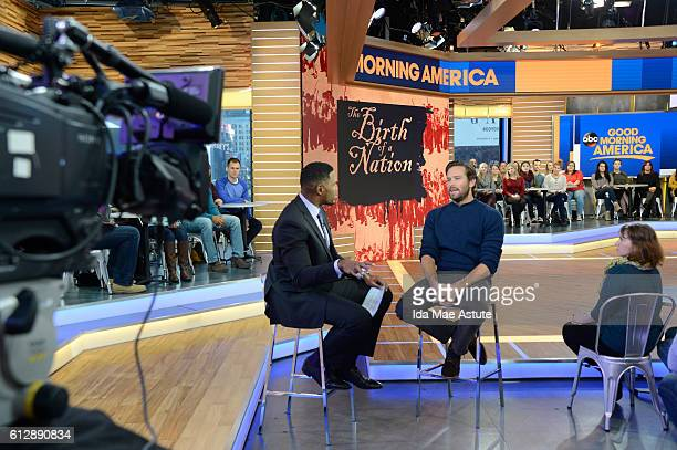 AMERICA Armie Hammer talks about filming Birth of a Nation on GOOD MORNING AMERICA 10/5/16 airing on the ABC Television Network MICHAEL