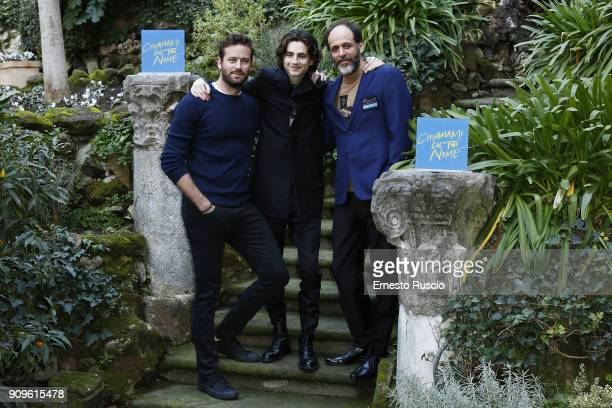 Armie Hammer Timothee Chalamet and Luca Guadagnino attend 'Chiamami Col Tuo Nome ' at Hotel De Roussie on January 24 2018 in Rome Italy