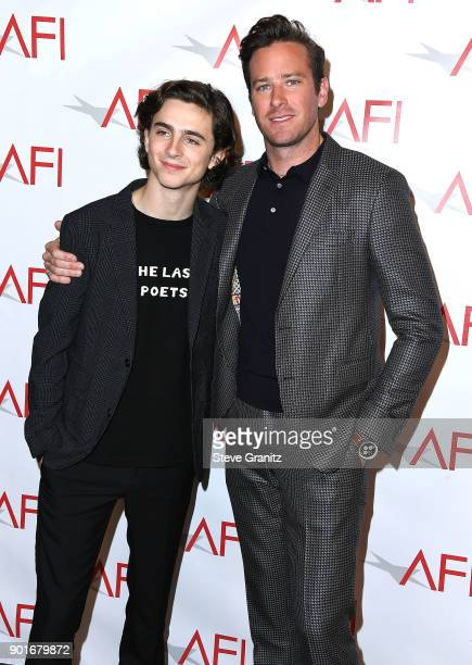 Armie Hammer Timothee Chalamet arrives at the 18th Annual AFI Awards on January 5 2018 in Los Angeles California