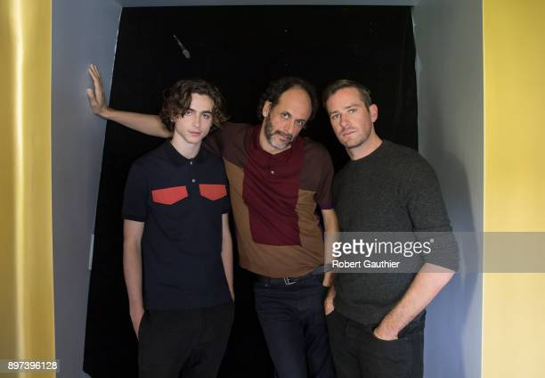 Armie Hammer Timothee Chalamet Luca Guadignino are photographed for Los Angeles Times on November 4 2017 in Los Angeles California PUBLISHED IMAGE...