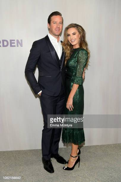 Armie Hammer , wearing Ferragamo, and Elizabeth Chambers, wearing The Vampire's Wife at The Webster, attend the Hammer Museum 16th Annual Gala in the...